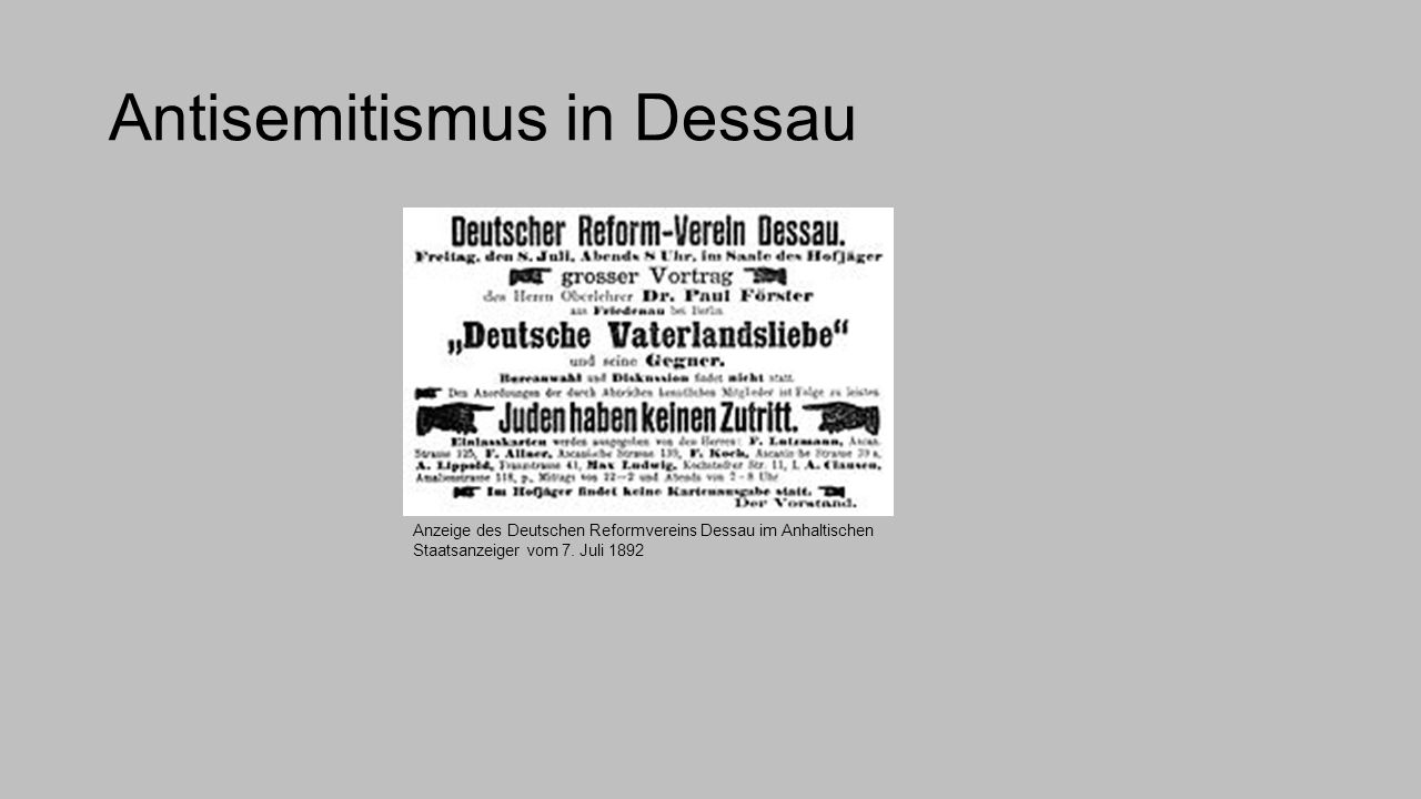 Antisemitismus in Dessau