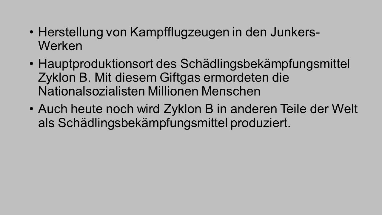 Herstellung von Kampfflugzeugen in den Junkers- Werken