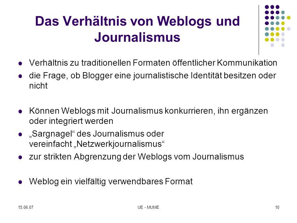 Das Verhältnis von Weblogs und Journalismus