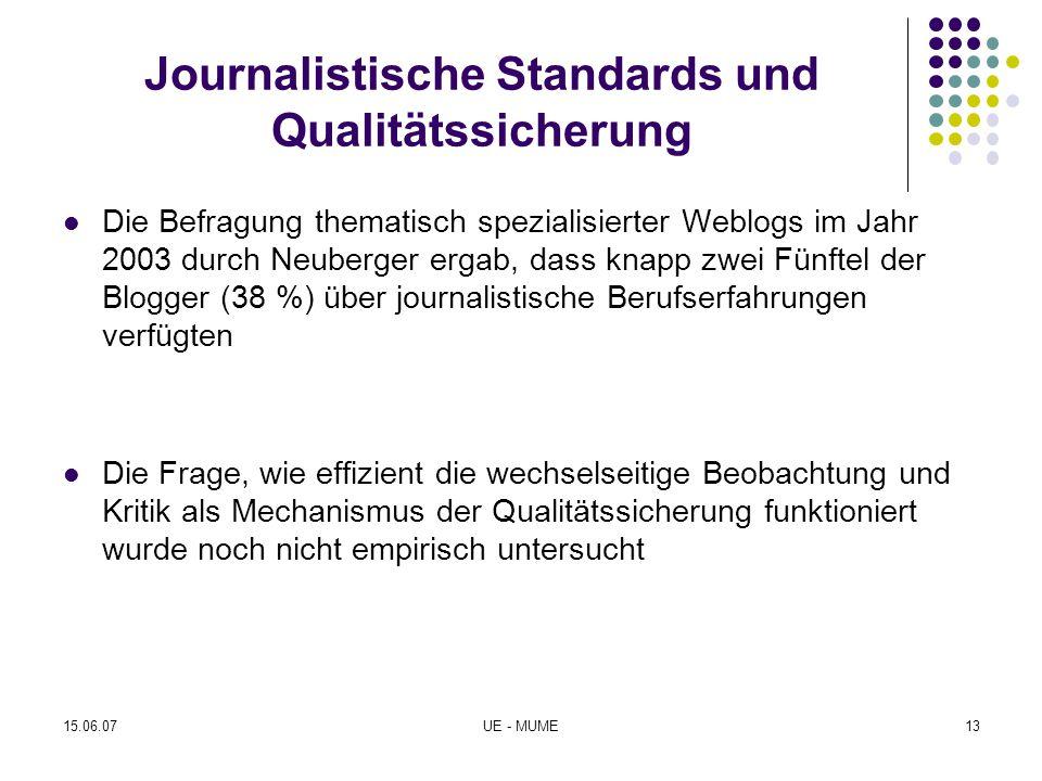 Journalistische Standards und Qualitätssicherung