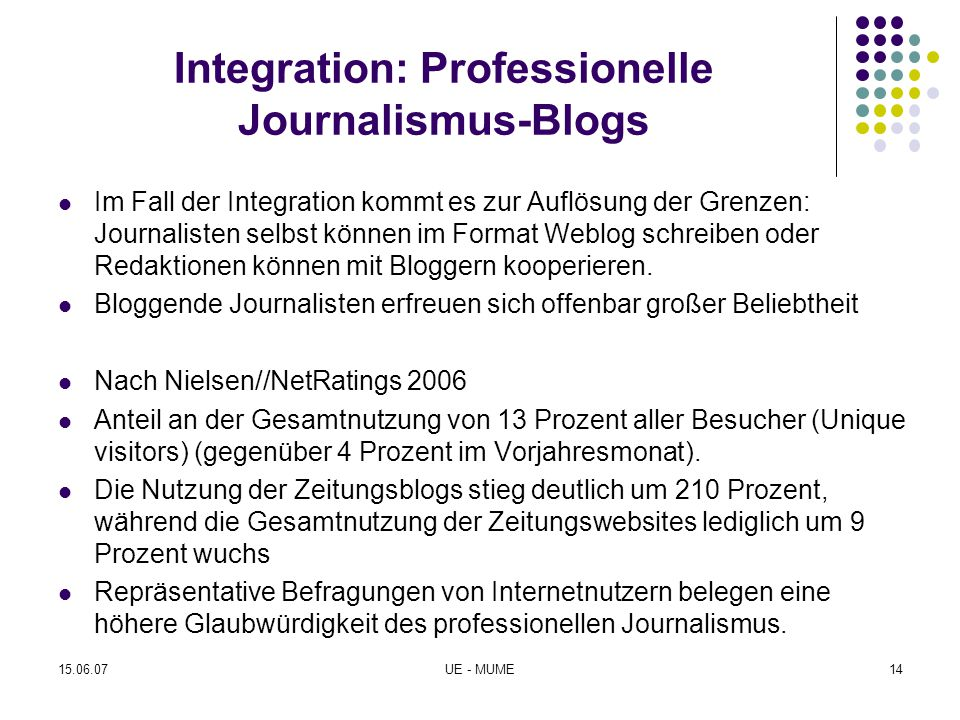 Integration: Professionelle Journalismus-Blogs