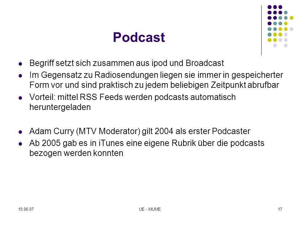 Podcast Begriff setzt sich zusammen aus ipod und Broadcast