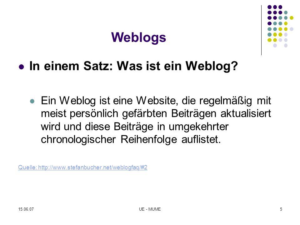 Weblogs In einem Satz: Was ist ein Weblog