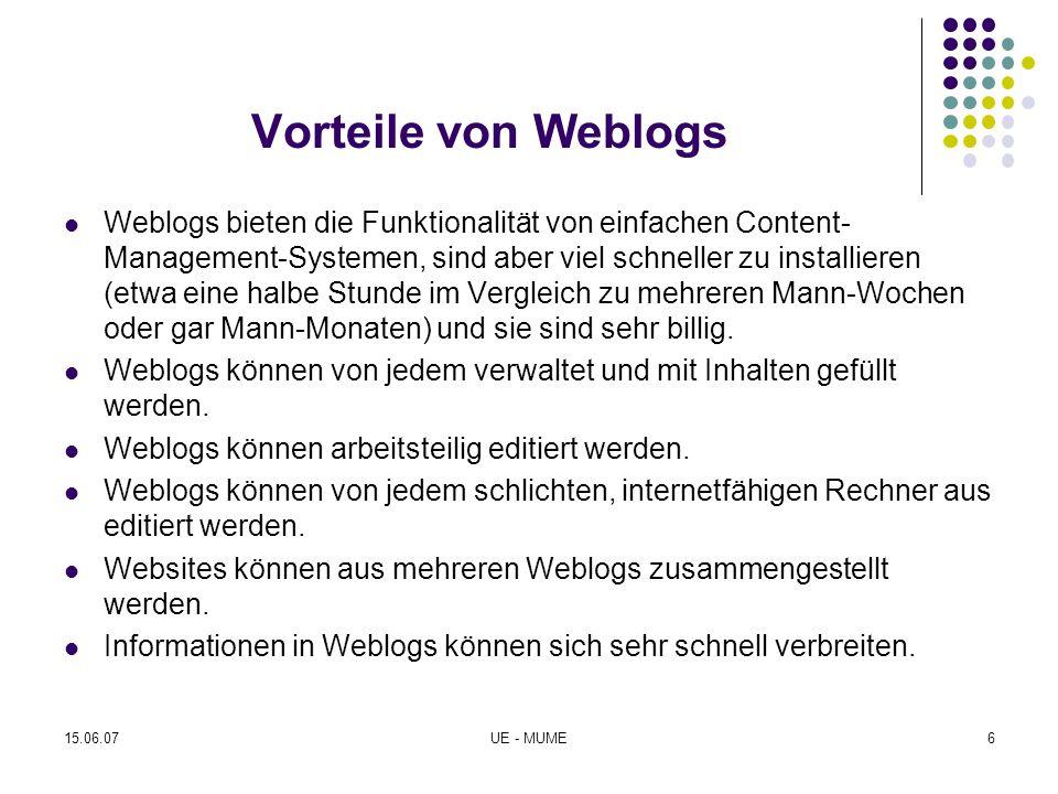 Vorteile von Weblogs