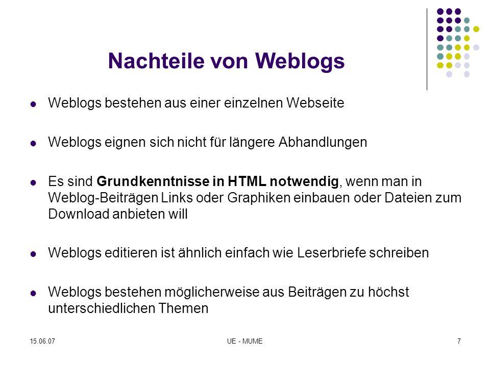 Nachteile von Weblogs Weblogs bestehen aus einer einzelnen Webseite