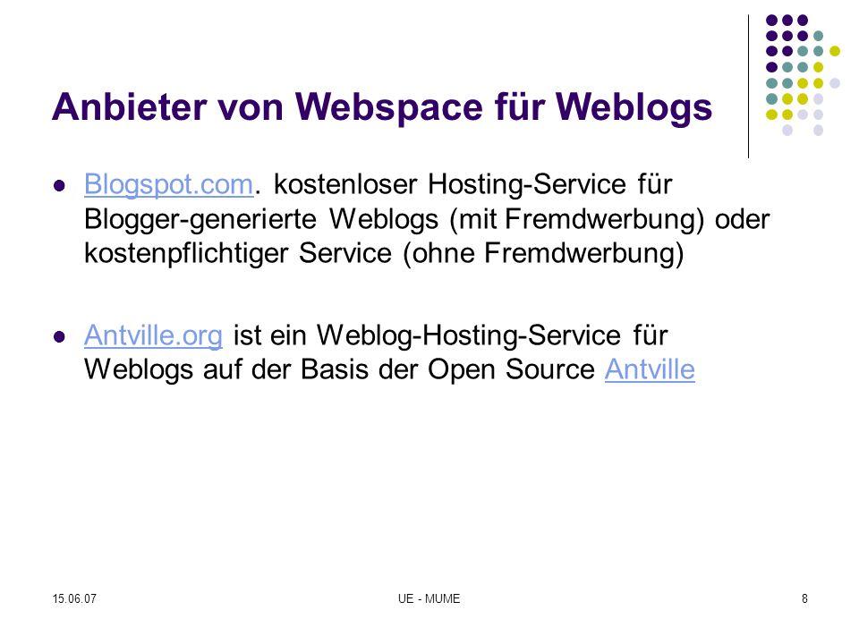 Anbieter von Webspace für Weblogs