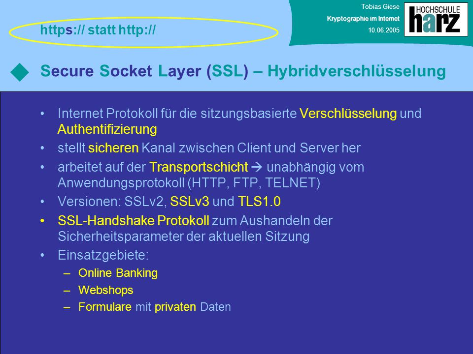 Secure Socket Layer (SSL) – Hybridverschlüsselung