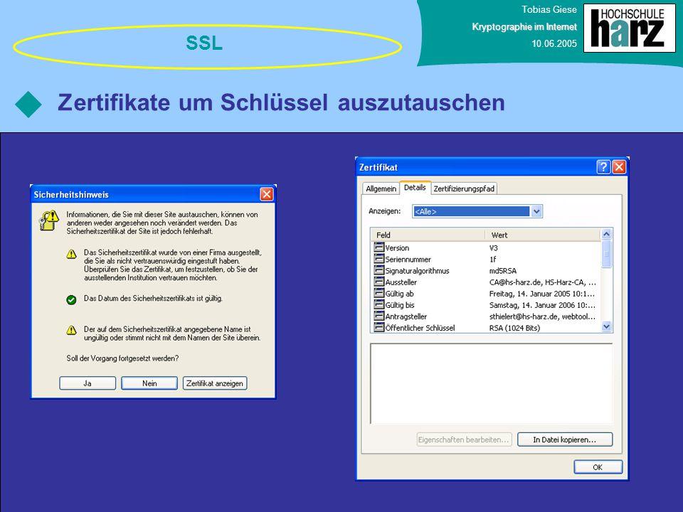 Zertifikate um Schlüssel auszutauschen