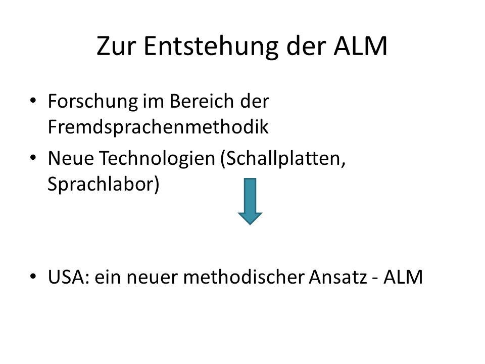 Zur Entstehung der ALM Forschung im Bereich der Fremdsprachenmethodik
