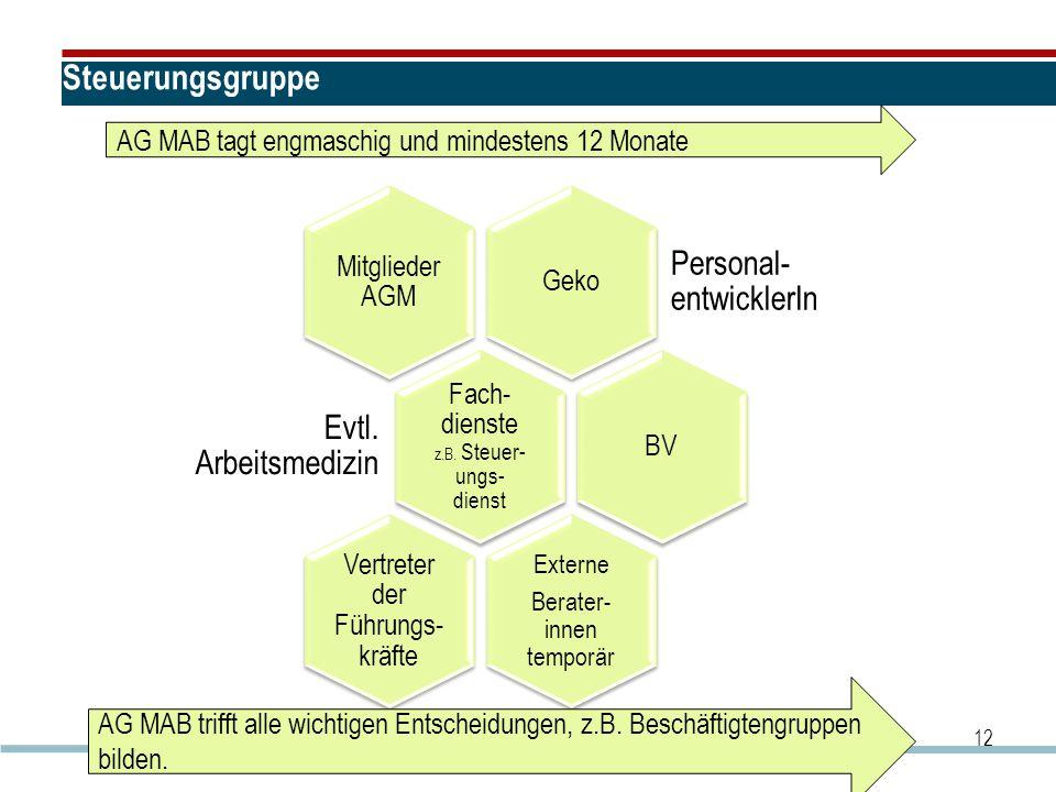 Steuerungsgruppe Personal-entwicklerIn Evtl. Arbeitsmedizin