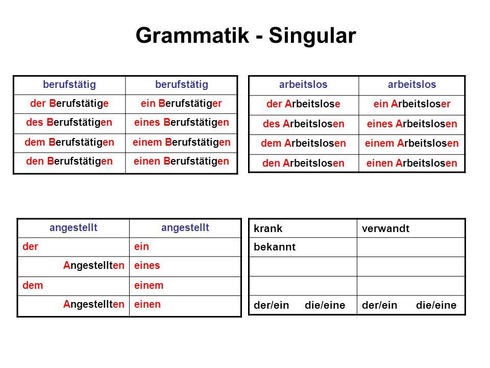 Grammatik - Singular krank verwandt bekannt der/ein die/eine