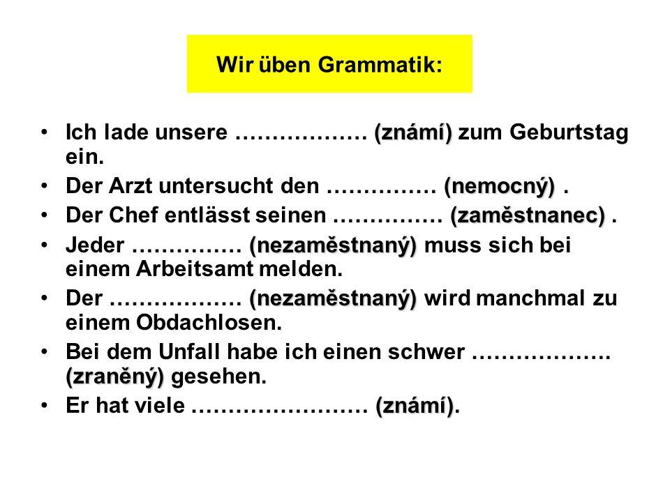 Wir üben Grammatik: Ich lade unsere ……………… (známí) zum Geburtstag ein. Der Arzt untersucht den …………… (nemocný) .