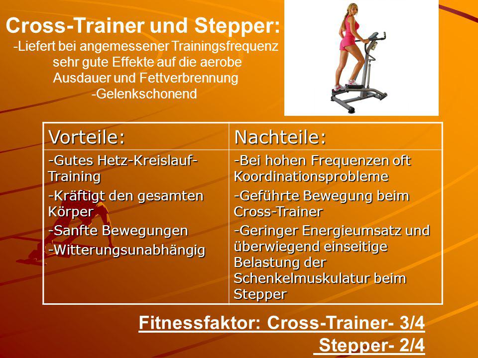 Cross-Trainer und Stepper: