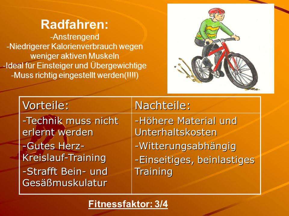 Radfahren: Vorteile: Nachteile: -Technik muss nicht erlernt werden