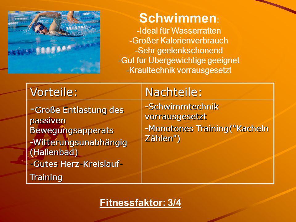 Schwimmen: Vorteile: Nachteile: