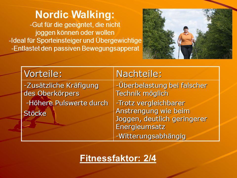 Nordic Walking: Vorteile: Nachteile: Fitnessfaktor: 2/4