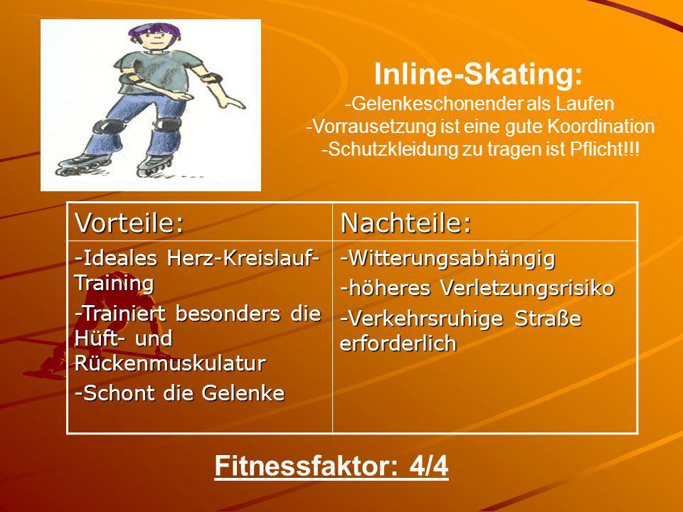 Inline-Skating: Fitnessfaktor: 4/4 Vorteile: Nachteile: