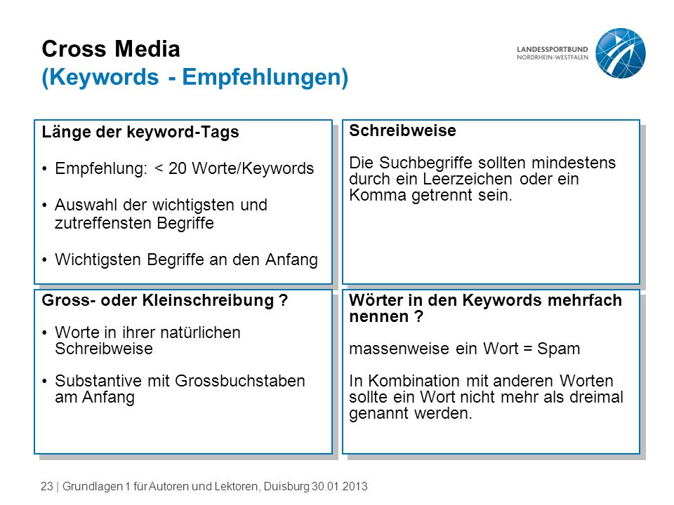 Cross Media (Keywords - Empfehlungen)