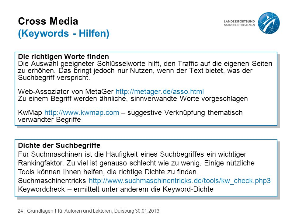 Cross Media (Keywords - Hilfen)