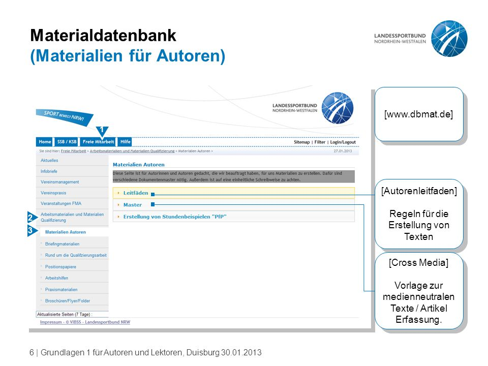 Materialdatenbank (Materialien für Autoren)