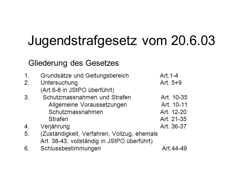 Jugendstrafgesetz vom 20.6.03