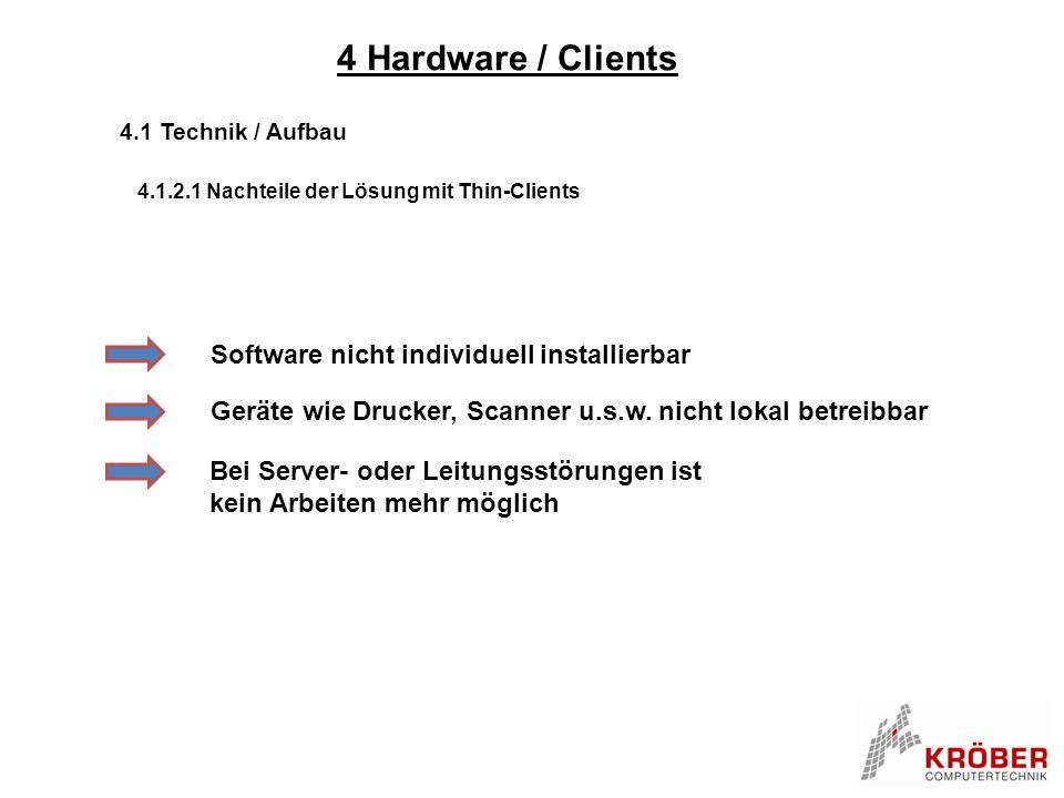 4 Hardware / Clients Software nicht individuell installierbar