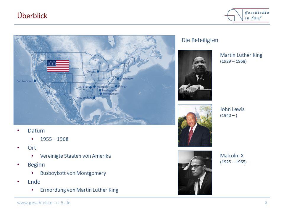 Überblick Die Beteiligten Datum Ort Beginn Ende Martin Luther King