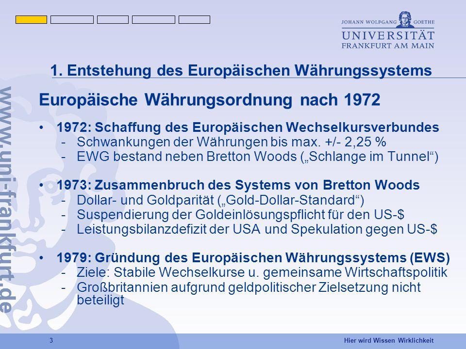 1. Entstehung des Europäischen Währungssystems