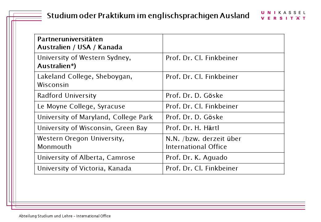Partneruniversitäten Australien / USA / Kanada