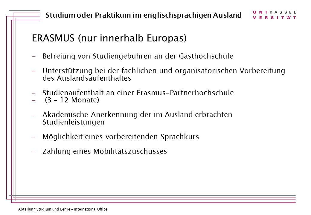ERASMUS (nur innerhalb Europas)
