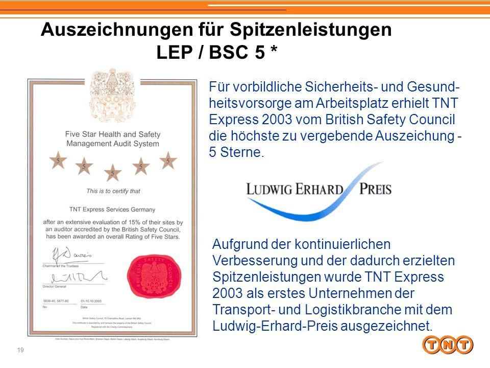 Auszeichnungen für Spitzenleistungen LEP / BSC 5 *