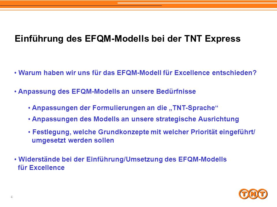 Einführung des EFQM-Modells bei der TNT Express