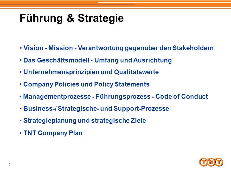 Führung & Strategie Vision - Mission - Verantwortung gegenüber den Stakeholdern. Das Geschäftsmodell - Umfang und Ausrichtung.