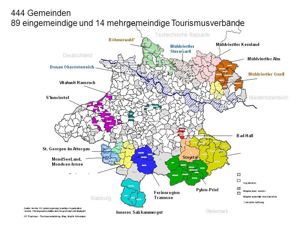 89 eingemeindige und 14 mehrgemeindige Tourismusverbände