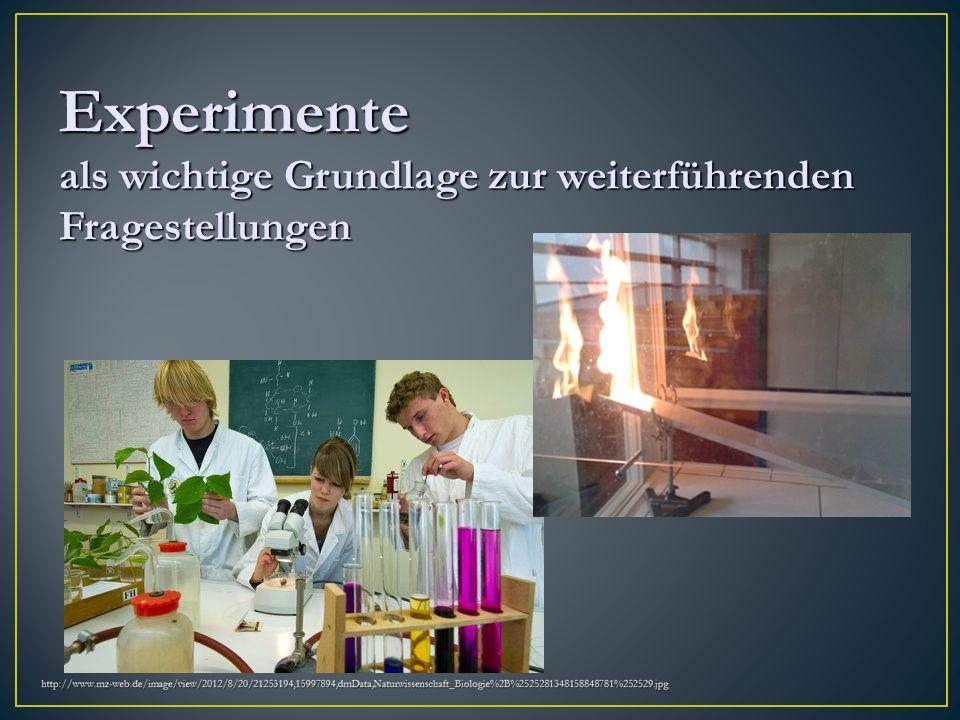 Experimente als wichtige Grundlage zur weiterführenden Fragestellungen