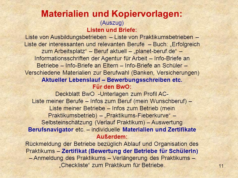 Materialien und Kopiervorlagen:
