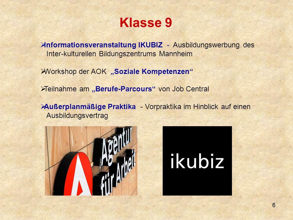 Klasse 9 Informationsveranstaltung IKUBIZ - Ausbildungswerbung des