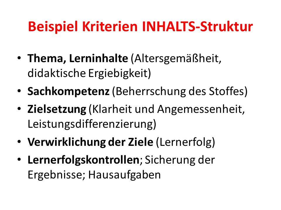 Beispiel Kriterien INHALTS-Struktur