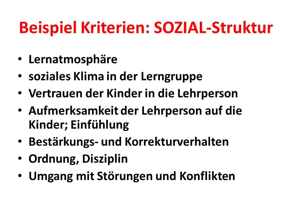 Beispiel Kriterien: SOZIAL-Struktur