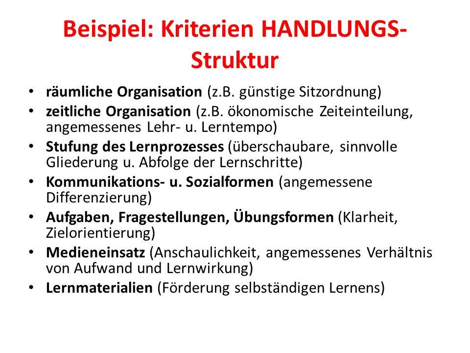 Beispiel: Kriterien HANDLUNGS-Struktur