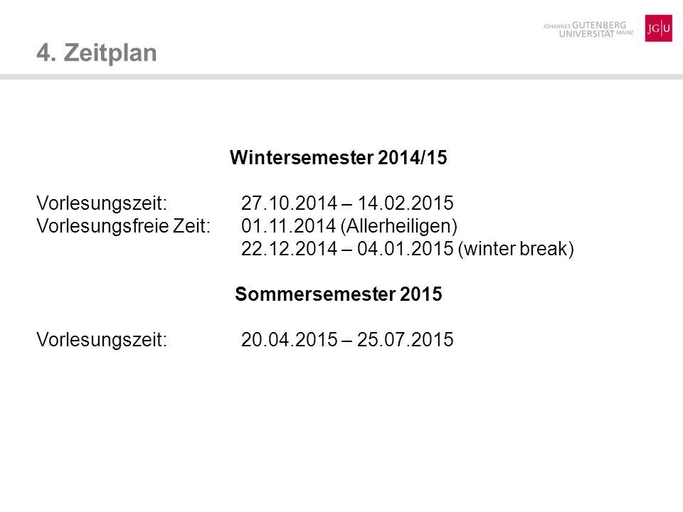 4. Zeitplan Wintersemester 2014/15