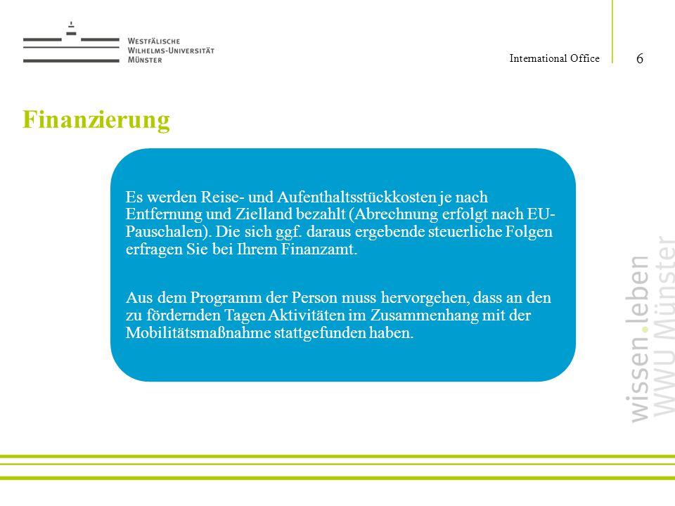 International Office Finanzierung.