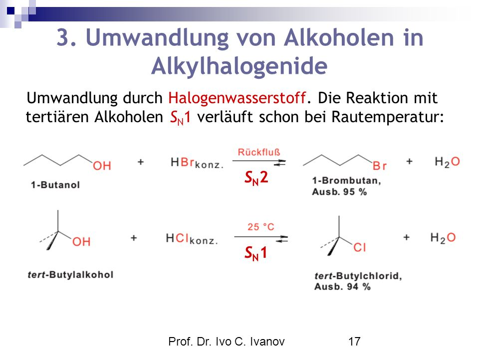 3. Umwandlung von Alkoholen in Alkylhalogenide