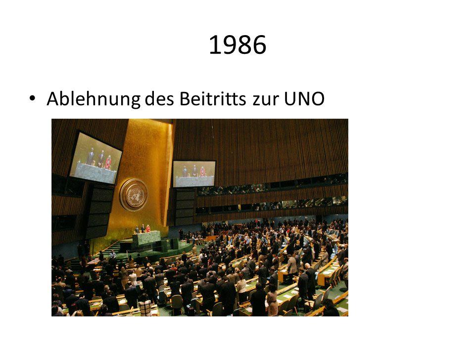 1986 Ablehnung des Beitritts zur UNO