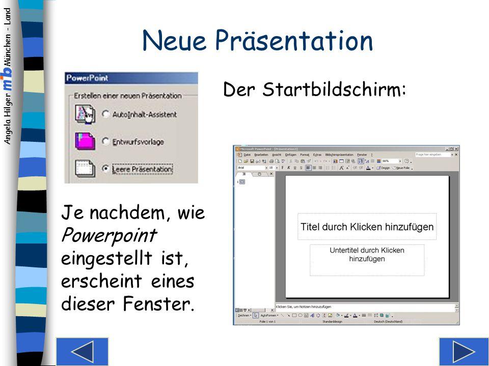 Neue Präsentation Der Startbildschirm: