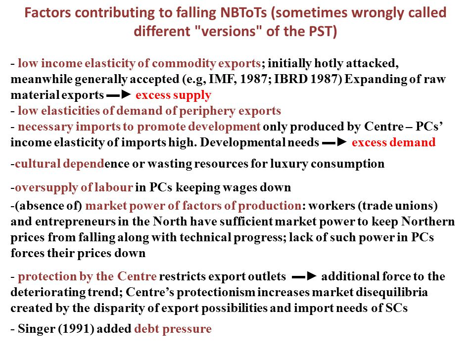 Factors contributing to falling NBToTs (sometimes wrongly called different versions of the PST)