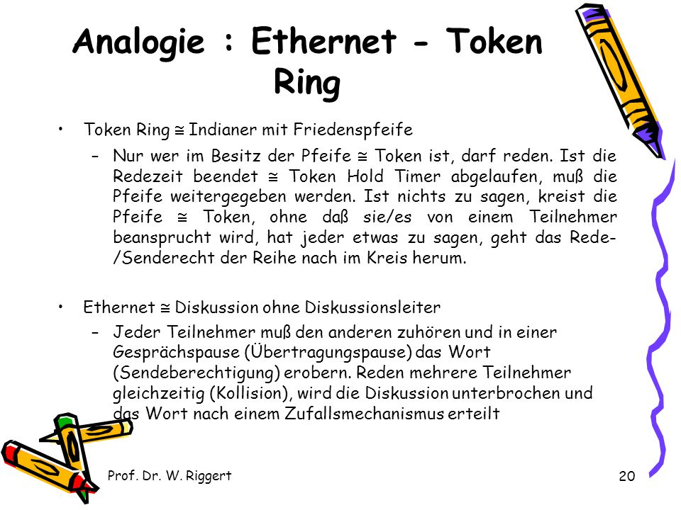 Analogie : Ethernet - Token Ring