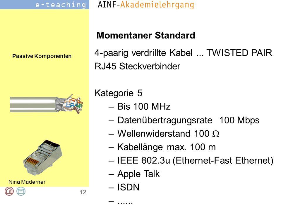Momentaner Standard 4-paarig verdrillte Kabel ... TWISTED PAIR. RJ45 Steckverbinder. Kategorie 5.