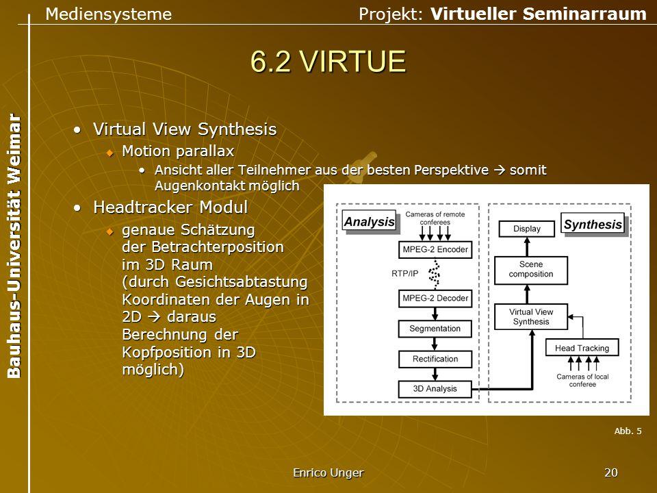 6.2 VIRTUE Virtual View Synthesis Headtracker Modul Motion parallax