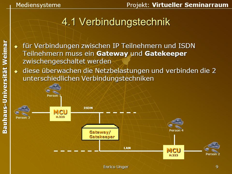 4.1 Verbindungstechnik für Verbindungen zwischen IP Teilnehmern und ISDN Teilnehmern muss ein Gateway und Gatekeeper zwischengeschaltet werden.